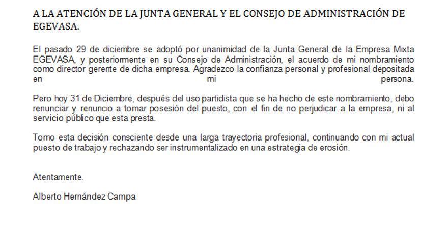 La carta remitida por Hernández Campa en la que comunica su renuncia a la dirección de Egevasa