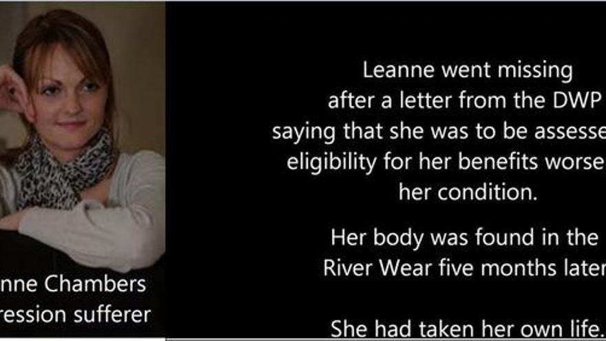 Foto difundida por la asociación Discapacitados por los Recortes: Leanne Chambers sufría depresión. Empeoró tras recibir una carta de las autoridades que decía que iba a ser evaluada. Se suicidó