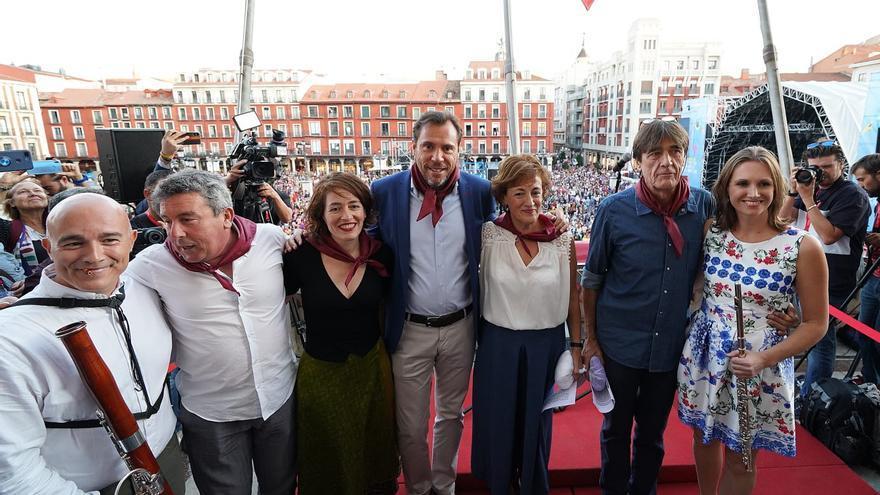 El alcalde de Valladolid, Óscar Puente, durante el pregón de las fiestas de 2019.