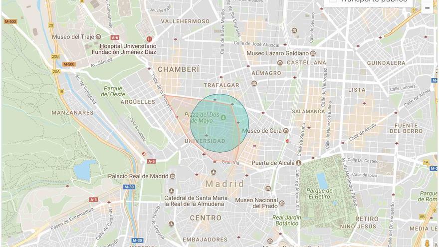 Así se muestra la localización de una vivienda en alquiler publicada en Airbnb