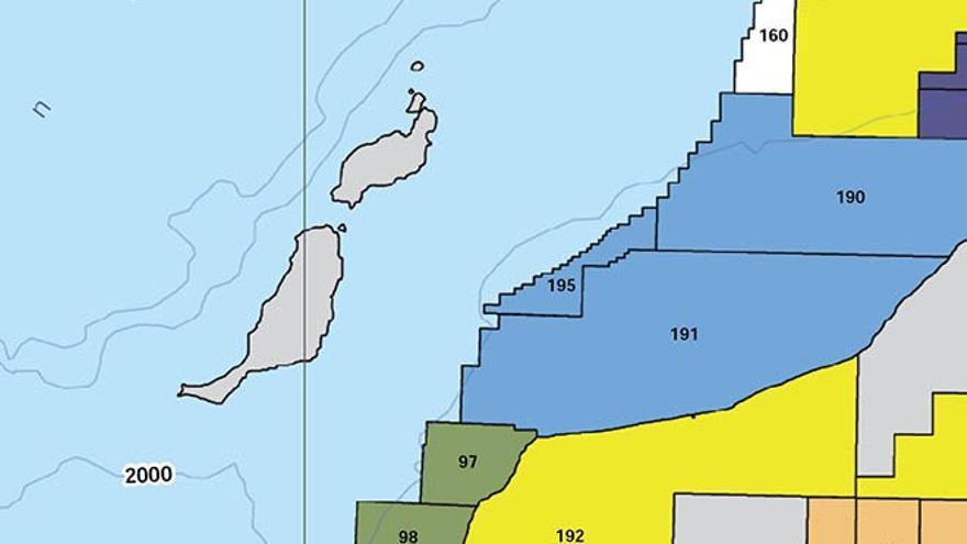 Mapa de la Oficina nacional de hidrocarburos marroquí con lás áreas de las prospecciones autorizadas. Los bloques 190, 191 y 195 son los concedidos a la petrolera ENI.