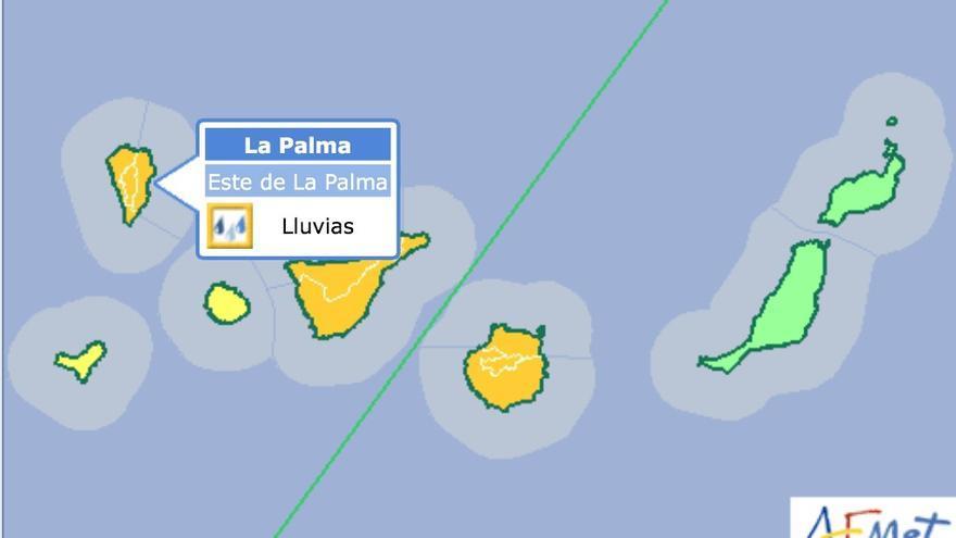 Aviso naranja por lluvias en Tenerife, La Palma y Gran Canaria