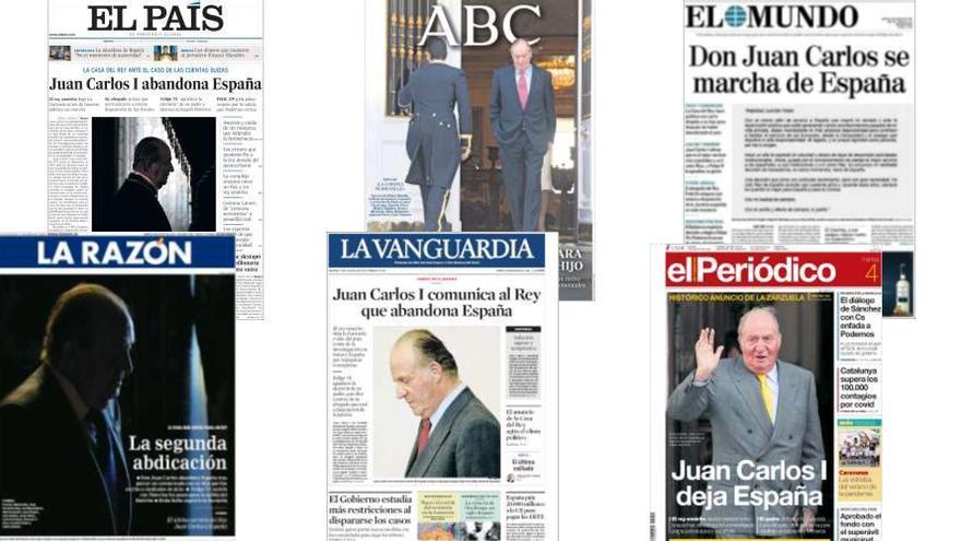 Portadas con la noticia de la marcha de Juan Carlos I