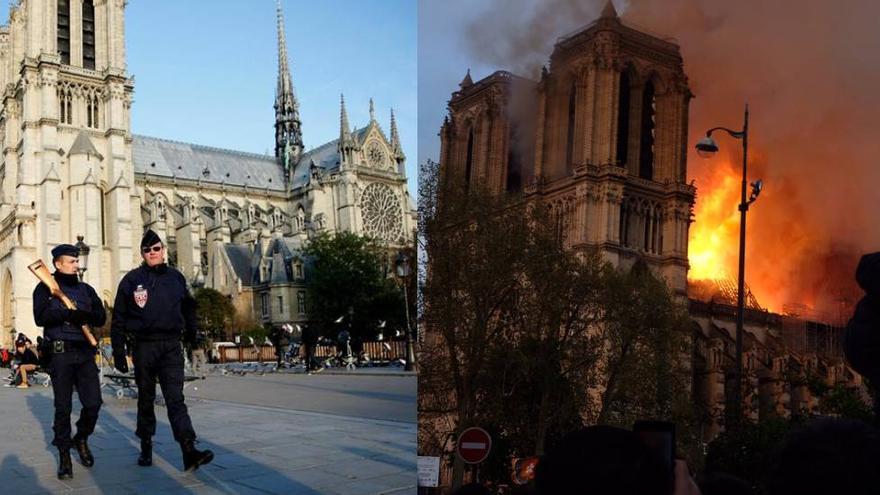 Comparación de la catedral de Notre-Dame antes de sufrir el incendio y después de que las llamas hicieran caer la aguja.
