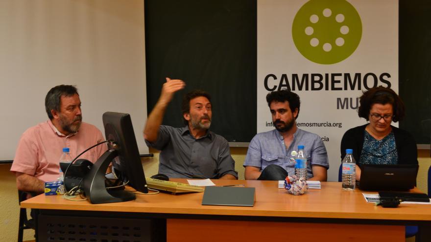 Nacho Tornel (IU), Mauricio Valiente (Ahora Madrid), Pedro Luis López (Podemos) y Rosa Crespo (EQUO)