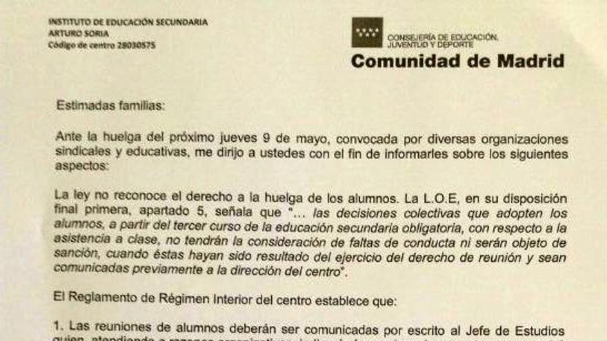 La carta que envió el director del IES Arturo Soria a las familias
