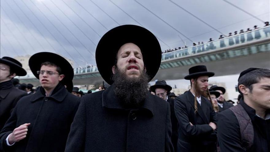 Judíos ultraortodoxos, durante una protesta