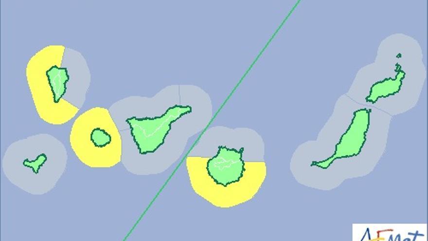 Mapa de la Aemet de aviso de riesgo amarillo por fenómero costero para este miércoles.