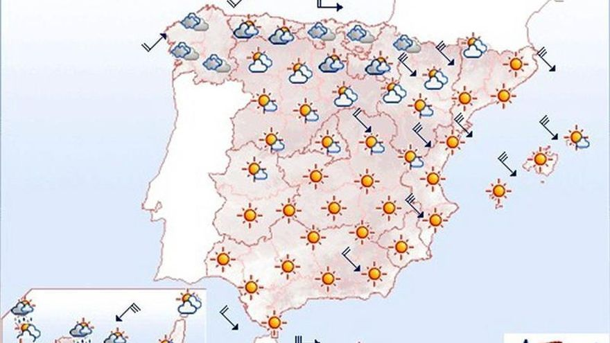 Mañana, nevadas en el norte y viento fuerte en este peninsular e islas
