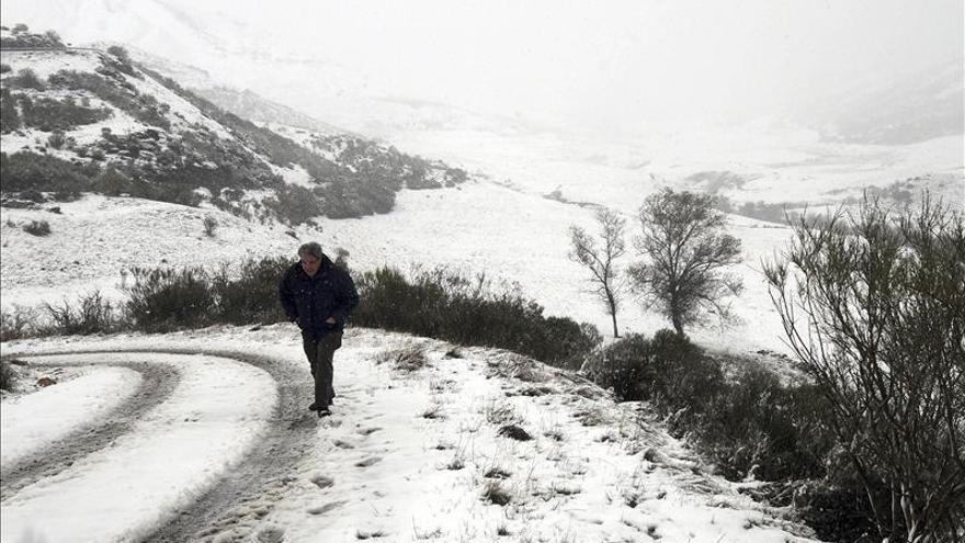 La nieve obliga al uso de cadenas en los puertos de San Isidro y Tarna