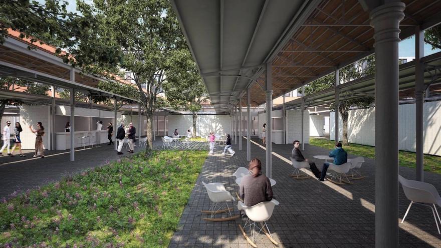 Así quedará el nuevo Mercado del Grao con la nueva zona verde tras la rehabilitación