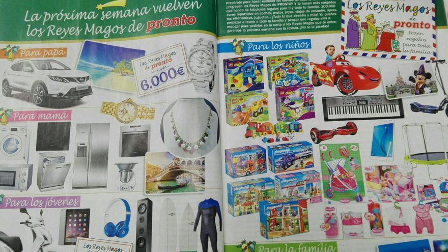 Doble página de la revista Pronto del mes de noviembre