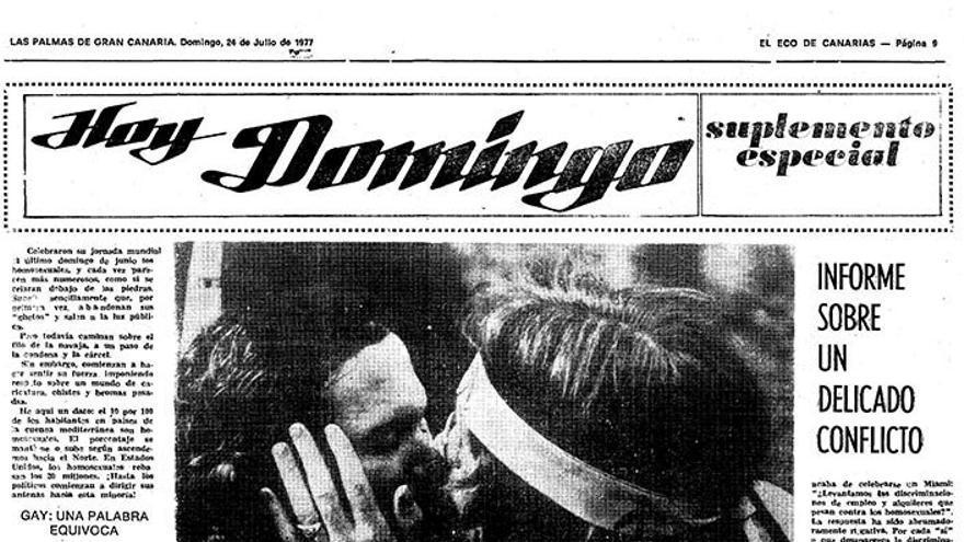 """Artículo de prensa dedicado a la """"problémática"""" gay en 'El Eco de Canarias'"""