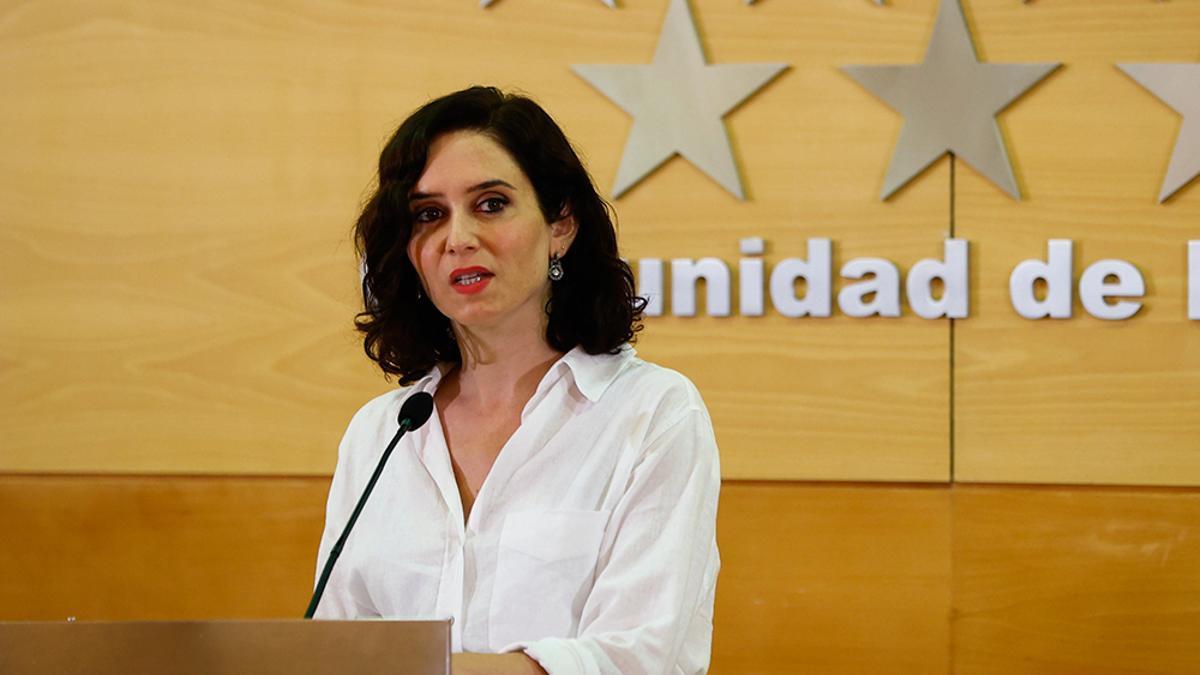 Isabel Díaz Ayuso, en una intervención de julio