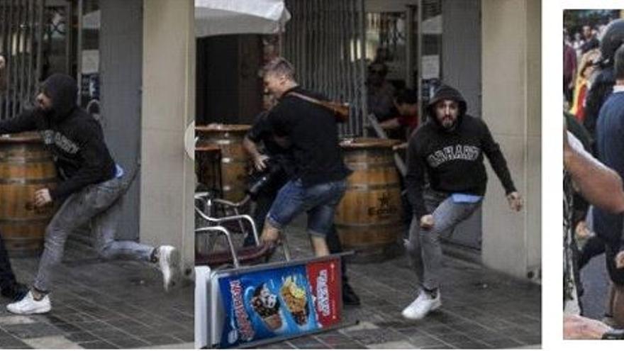 Néstor Franco, en el momento que fue captado agrediendo a un fotoperiodista en el 9O de 2017.