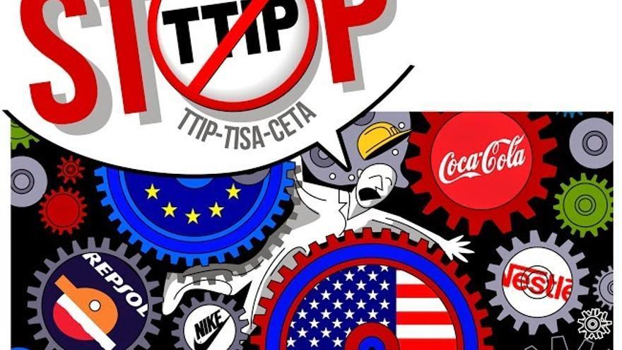 Cartel de la movilización mundial contra el TTIP