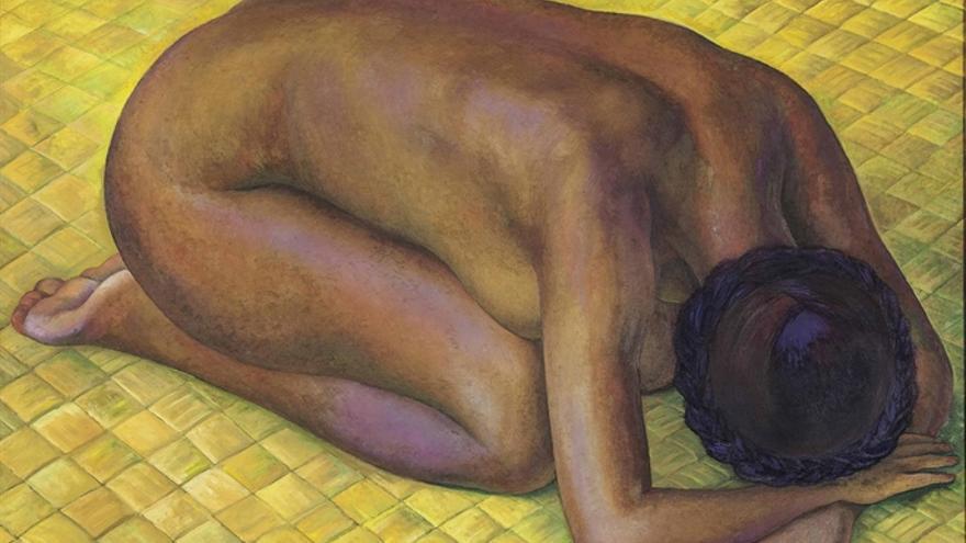 'Nieves desnuda de rodillas sobre un petafe', del mexicano Diego Rivera