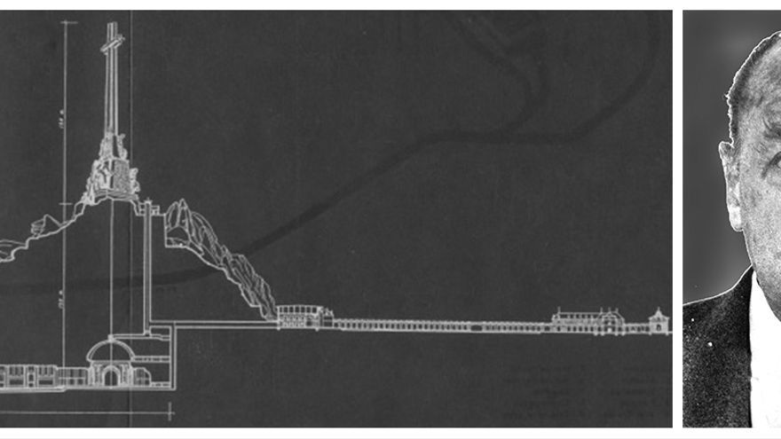 Un plano de la Cruz del Valle de Cuelgamuros y el ingeniero Carlos Fernández Casado.