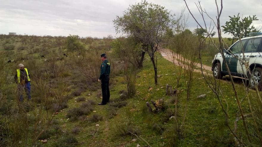 El teniente Lago, oficial adjunto de la Compañía de la Guardia Civil en Mora (Toledo) junto a un pastor