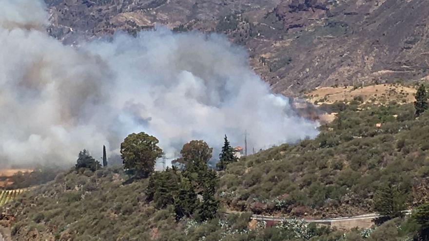 El Cabildo de Gran Canaria informa que el fuego afecta a pastizal y monte bajo.