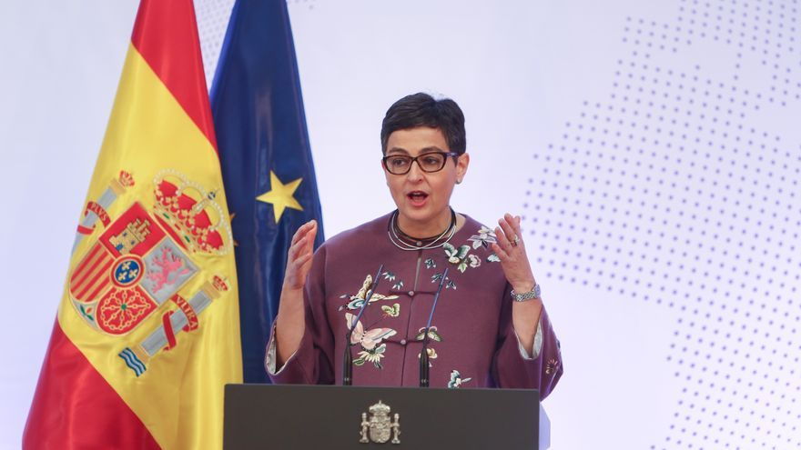 La ministra de Asuntos Exteriores, Unión Europea y Cooperación, Arancha González Laya, durante su intervención en el acto de presentación de la Guía de la Política Exterior Feminista.