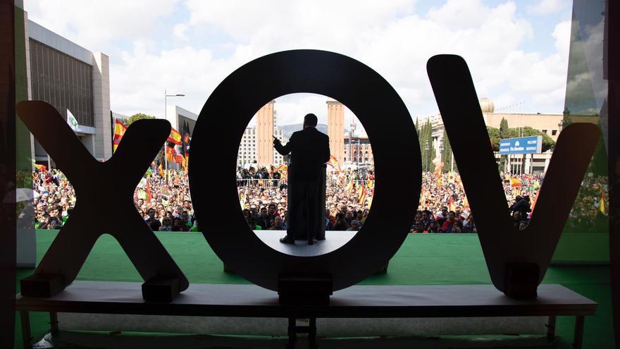 Abascal en el mitin celebrado en marzo en la capital catalana