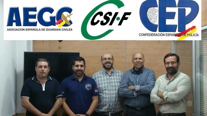 Representantes sindicales de CSI-F, CEP y AEGC que participaron en la reunión.