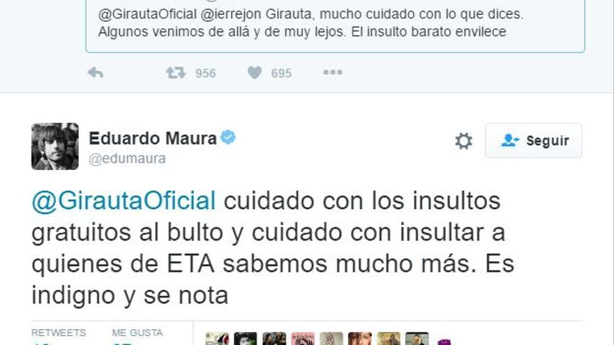 El diputado de Unidos Podemos Eduardo Maura responde en Twitter a Juan Carlos Girauta.