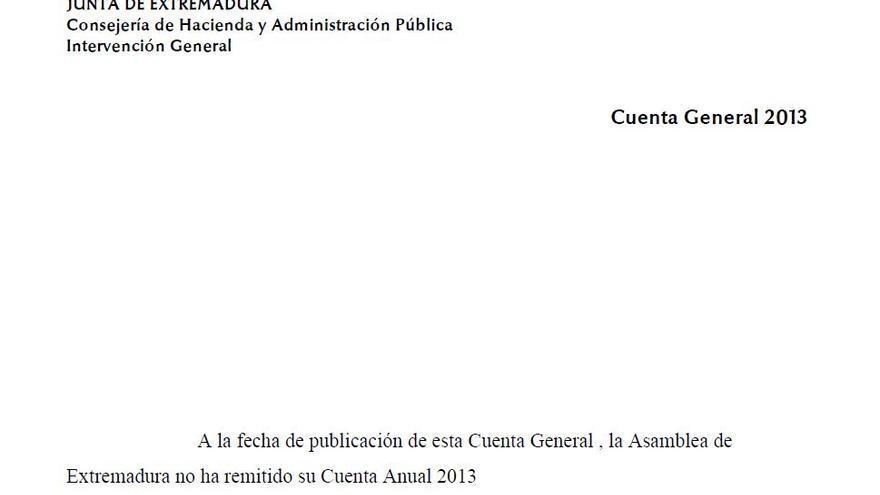 Cuenta general de Extremadura de 2013