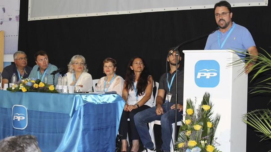 El presidente del Partido Popular en Canarias, Asier Antona, durante su intervención en el congreso del PP en La Gomera