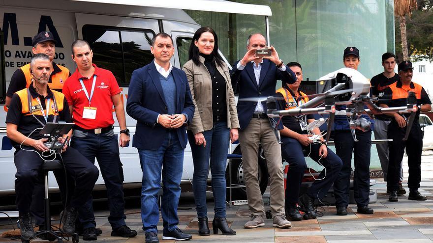 Presentación de drones este martes, en la capital tinerfeña