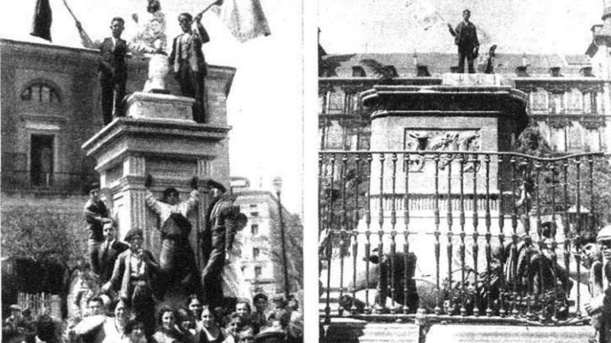 Los pedestales de las estatuas derribadas de Isabel II y Felipe III. | Nuevo Mundo