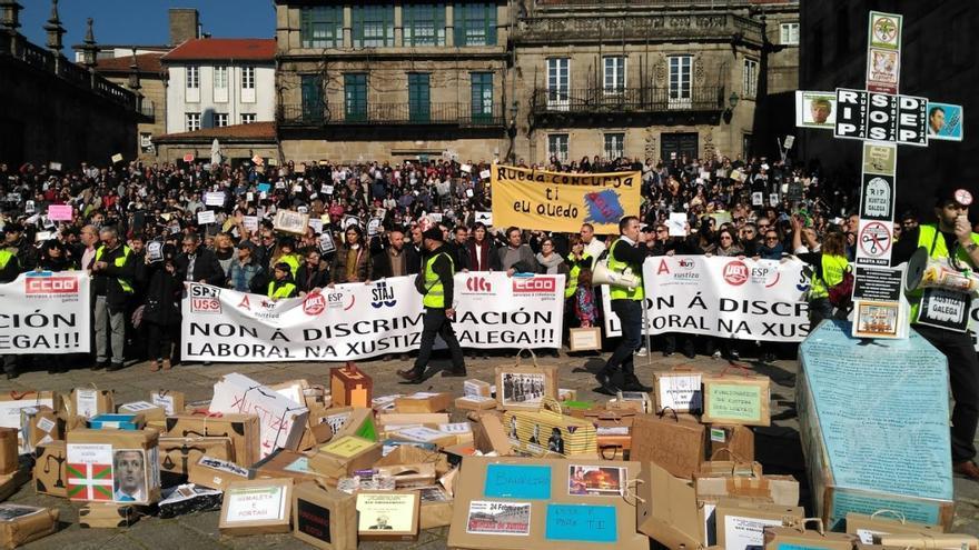 Manifestación el pasado 24 de febrero en Santiago del personal de la Justicia en huelga en Galicia