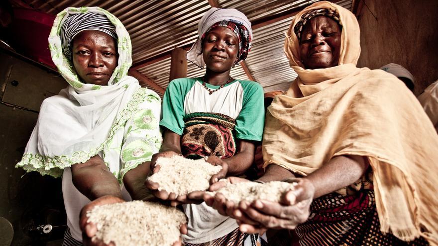 Varias mujeres muestran el resultado de su trabajo en el procesamiento de arroz en Burkina Faso (África Occidental)