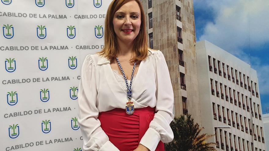 Nieves Lady Barreto, este lunes, tras tomar posesión de la Presidencia del Cabildo de La Palma.