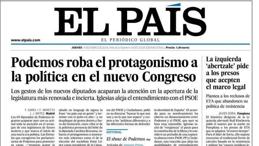 Portada de El País del 14 de enero de 2016.