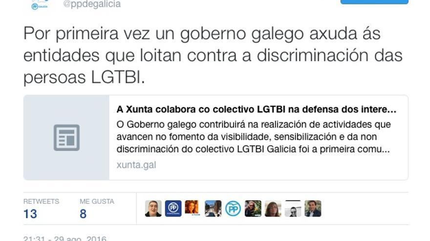 """Mensaje en Twitter del PP gallego en el que se enorgullece de ayudar """"por primera vez"""" a las entidades LGTBI"""