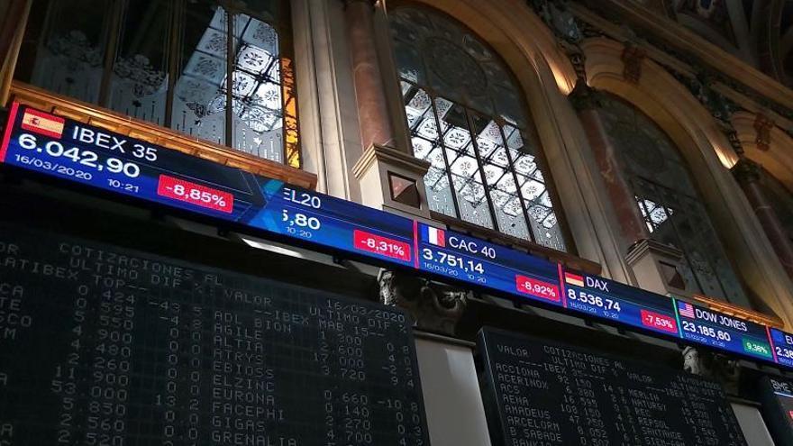 Interior de la Bolsa española.