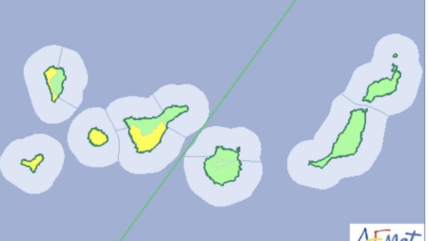 Mapa de la Aemet del aviso de riesgo por lluvias para este lunes, 14 de noviembre de 2016.