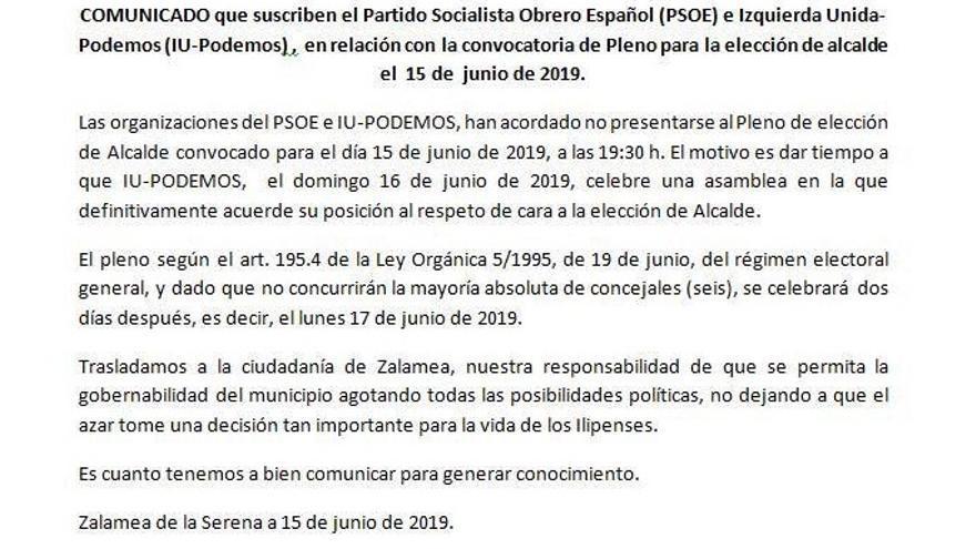 Comunicado de prensa emitido por PSOE y Unidas Podemos