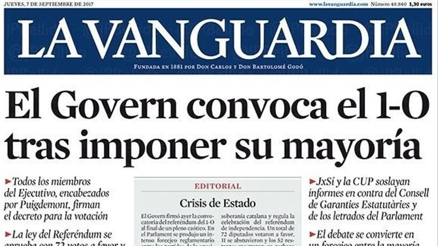 Portada de La Vanguardia de este 7 de septiembre.