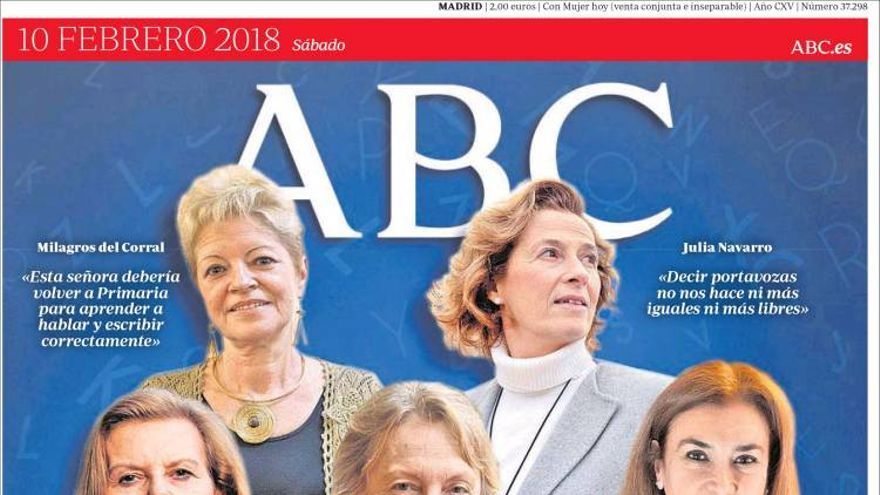 Portada de ABC el 10 de febrero de 2018