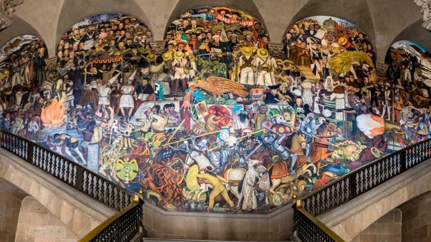 El mural en Palacio Nacional, mientras Diego Rivera lo realizaba escribía cartas para pedir por el trabajo de los artistas.