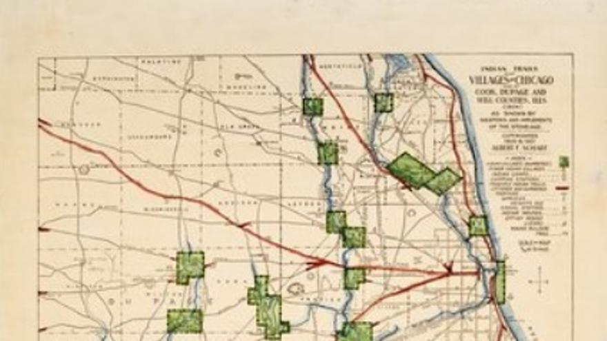 Mapa de los senderos y pueblos indígenas americanos de Chicago