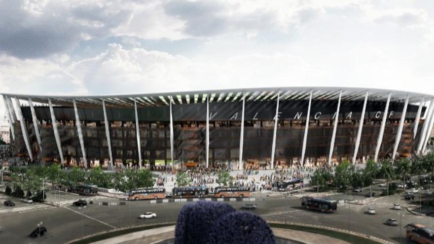 Imagen virtual del nuevo estadio del Valencia C. F.