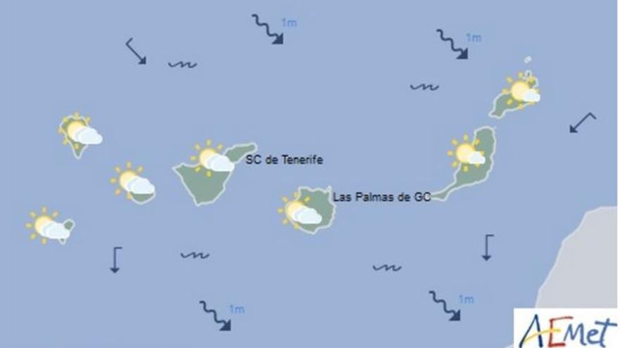 No se descarta alguna lluvia débil al oeste del Archipiélago mientras que las Islas más orientales experimentarán temperaturas en ligero ascenso y viento variable flojo