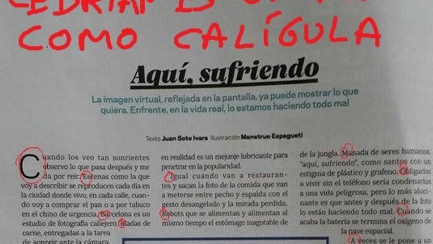 Imagen del Twitter de Hematocrítico en el que descifra el mensaje oculto contra Cebrián en una columna de Tentaciones, suplemento de El País.