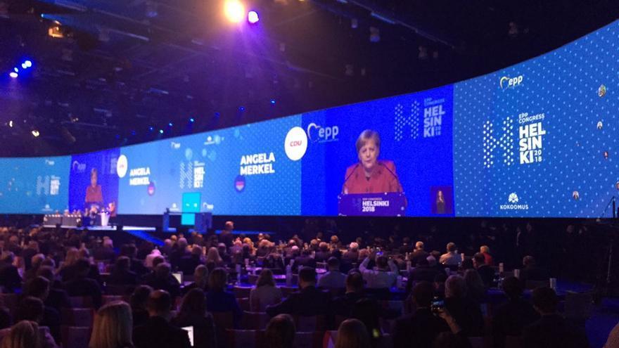 Angela Merkel, en el congreso del PPE de Helsinki, el 8 de noviembre de 2018.