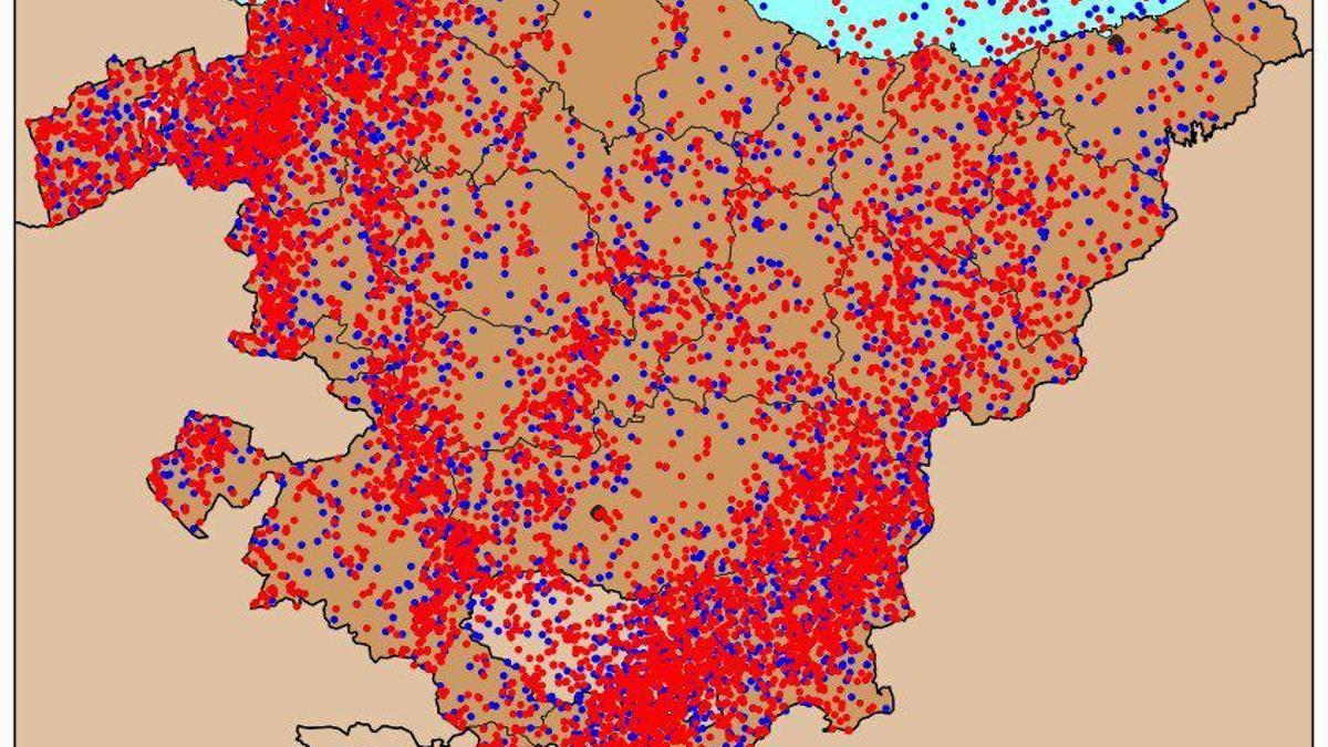 Gráfico con los rayos que han caído en Euskadi en el último episodio de tormentas