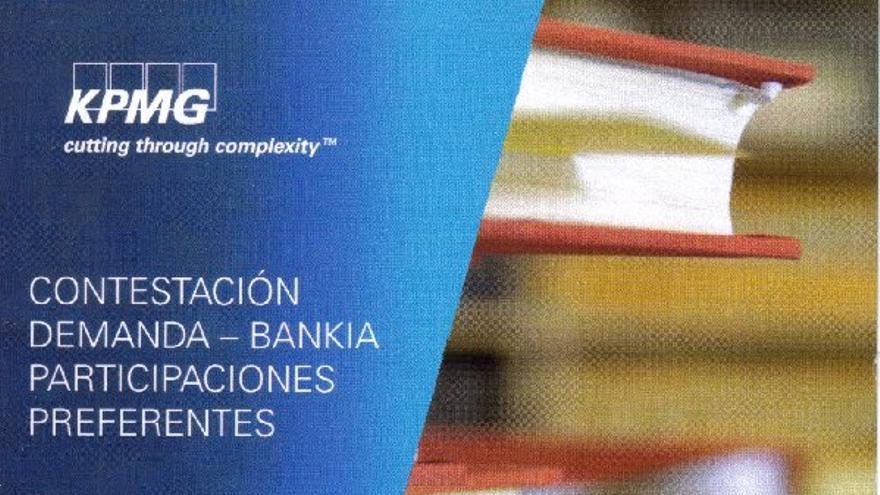 Portada de la documentación remitida al juzgado por Bankia en los casos de preferentes, elaborado por KPMG